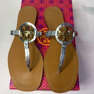Tory Burch Mini Miller leather Metallic Sandal